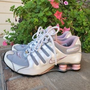 Nike Shox pearl white and pink sneaker shoes